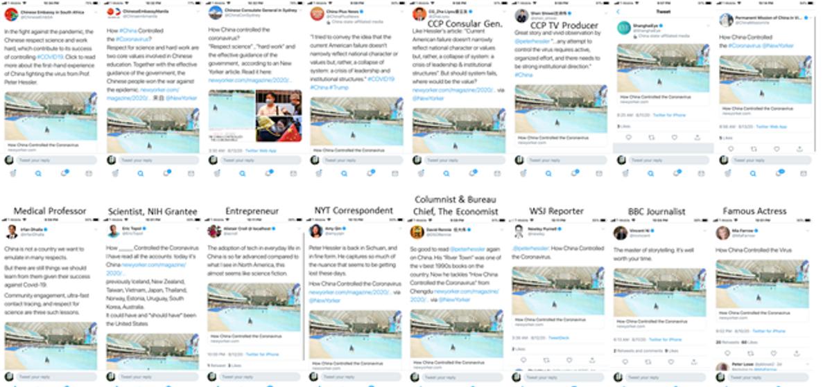 """Tweet che promuovono il messaggio che """"la Cina ha controllato il virus"""""""