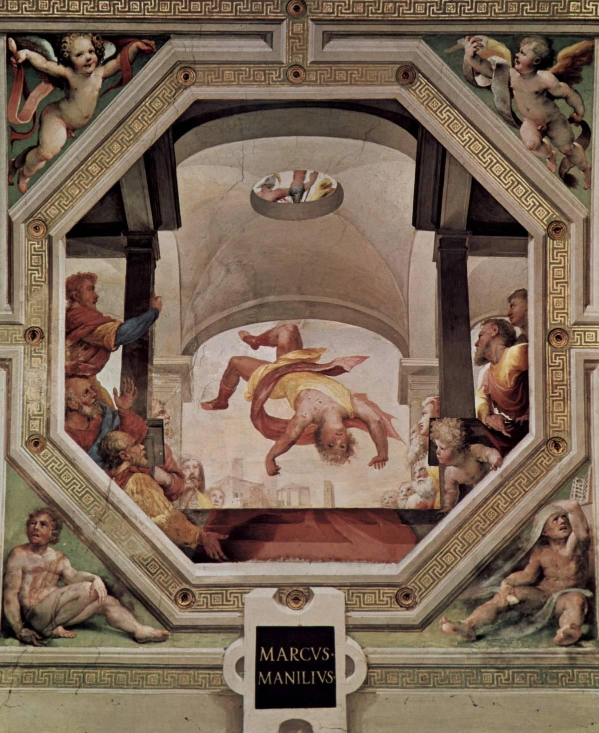 Manlius Capitolinus tossed from the Tarpeian Rock by Domenico di Pace Beccafumi, in Palazzo Pubblico of Siena